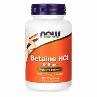 Betaine HCI 648 mg 120 caps Now